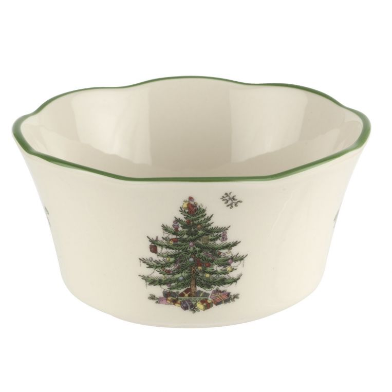 Spode 4.5'' Christmas Tree 2020 Scalloped Bowl Christmas Tree 4.5 Inch Flare Scalloped Bowl | Pimpernel